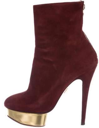 Charlotte Olympia Suede Platform Boots