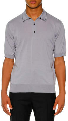 Lanvin Men's Contrast Detail Polo Shirt