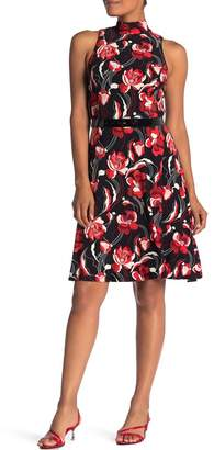 Iconic American Designer Floral Mock Neck Belted Fit & Flare Dress