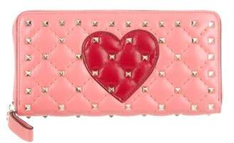 Valentino Rockstud Quilted Leather Wallet