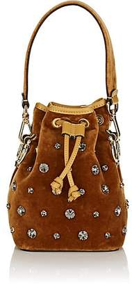 Fendi Women's Mon Tresor Mini Velvet Bucket Bag - Camel