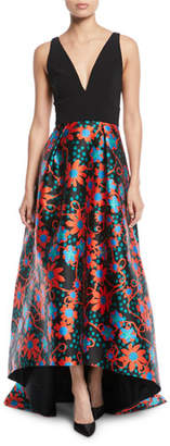 Theia Sleeveless Floral-Dot Ball Gown