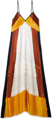 Tory Burch Sasha Color-block Silk Crepe De Chine Maxi Dress - Saffron