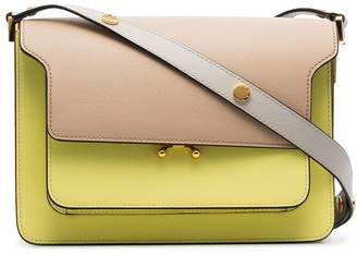 Marni yellow and beige trunk bicolour medium leather shoulder bag