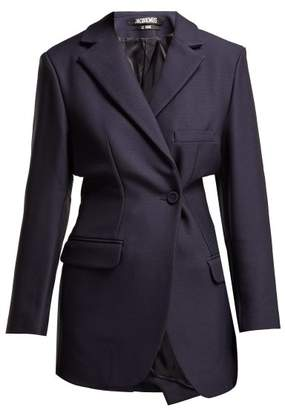 Jacquemus Veste De Costume Single Breasted Wool Blazer - Womens - Navy