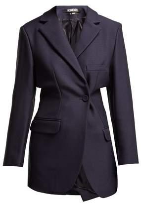 Jacquemus Veste De Costume Single Breasted Wool Blazer - Womens - Navy