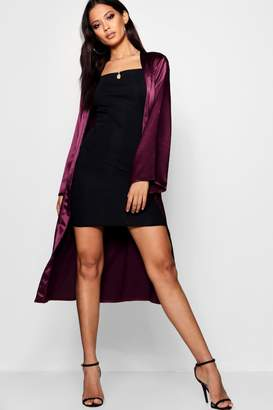 boohoo Belted Collarless Satin Duster