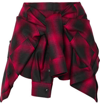 Alexander Wang Tie-front Checked Wool-flannel Shorts - Red