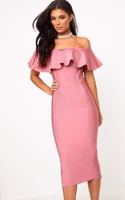 PrettyLittleThing Rose Bandage Frill Bardot Midi Dress