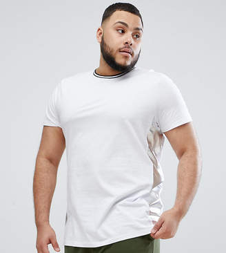 Asos DESIGN Plus relaxed longline t-shirt with metallic side panels in white