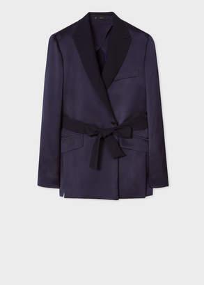 Paul Smith Women's Navy Satin Wrap Tuxedo Blazer
