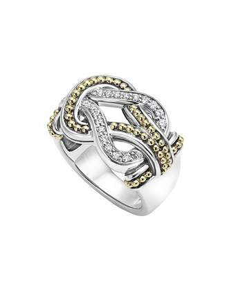 Lagos Sterling Silver and 18K Gold Newport Diamond Ring