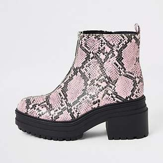 River Island Pink snake print zip front chunky boots