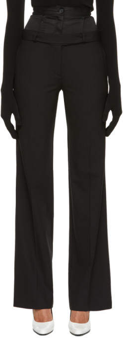 Black Wide Double Trousers