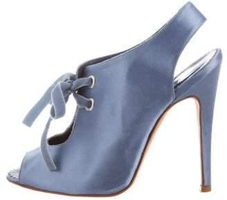 Manolo Blahnik Satin Lace-Up Sandals