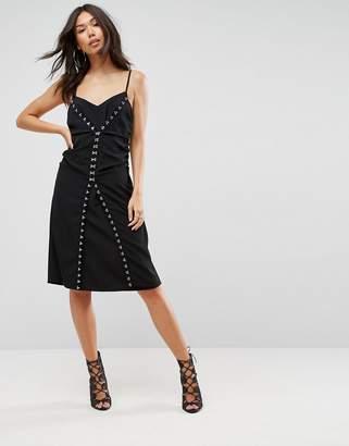 Asos DESIGN Slip midi dress With Hardware Detail
