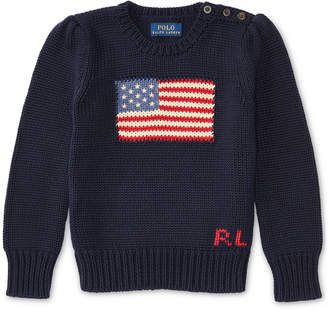 Ralph Lauren American Flag Knit Cotton Sweater, Toddler & Little Girls (2T-6X) $79.50 thestylecure.com