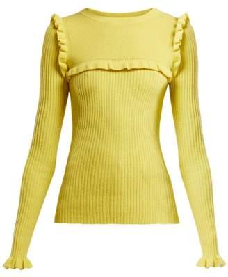 See by Chloe Ruffled Alpaca Blend Sweater - Womens - Yellow