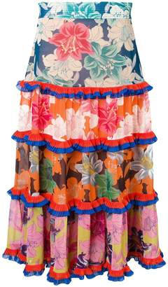 Etro floral tiered ruffle skirt