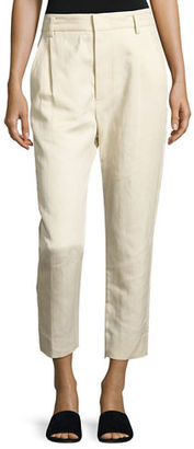 Vince Slouchy Linen-Blend Cropped Trousers $285 thestylecure.com