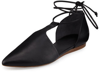 Vince Noella Leather Lace-Up Flat, Black $325 thestylecure.com