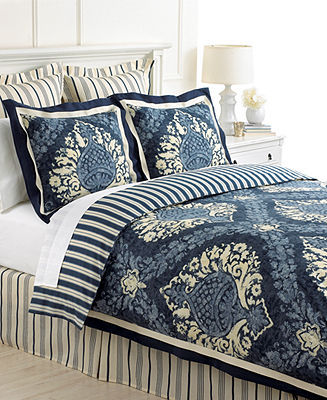 Martha Stewart Collection Bedding, Indigo Damask 6 Piece Comforter or Duvet Cover Sets