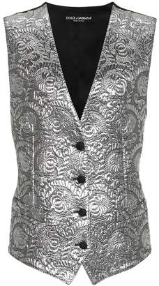 Dolce & Gabbana Metallic silk-blend jacquard vest