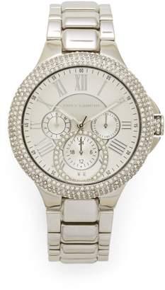 Vince Camuto Silvertone Crystal-embellished Link Watch