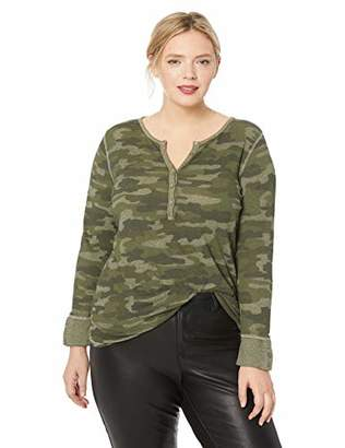 Lucky Brand Women's Plus Size CAMO Thermal TOP