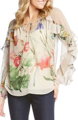 Karen Kane Keyhole Ruffle Sleeve Floral Georgette Blouse
