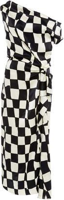 Oscar de la Renta One-Shoulder Checked Dress