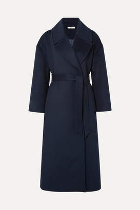 Ganni Tahoka Brushed Wool-blend Coat - Midnight blue