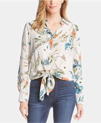 Karen Kane Floral-Print Tie-Front Top