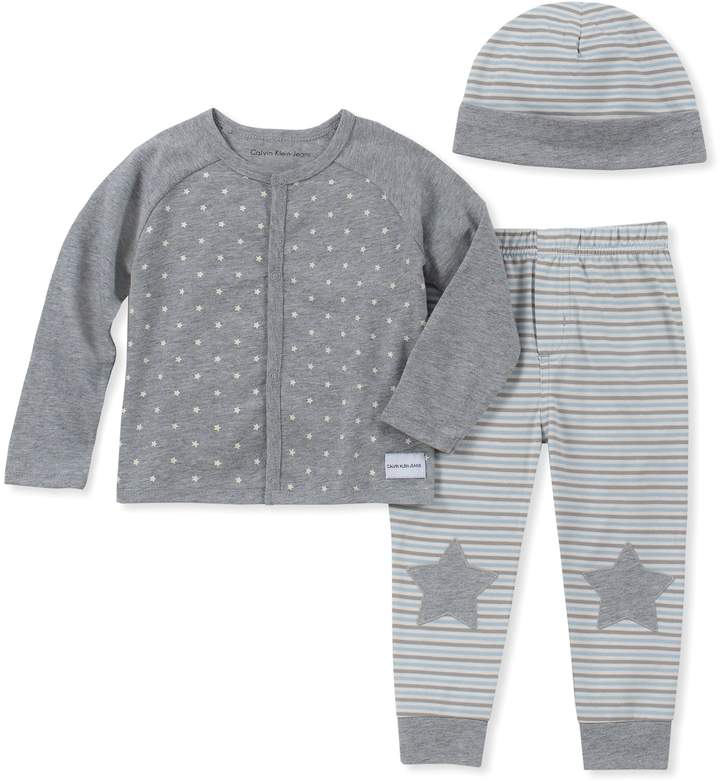 Calvin Klein 3-Piece Star Cardigan, Pant, and Hat Set in Grey