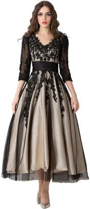 Snowskite Women's Black Lace Applique Tulle Long Formal Evening Dress 28