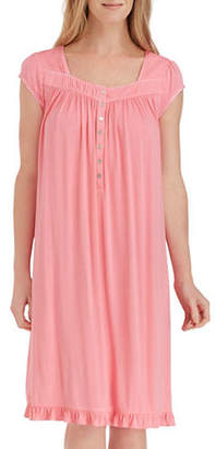 Eileen West Lace-Trimmed Cap-Sleeve Short Nightgown