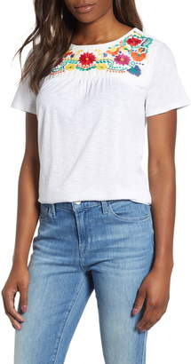 Gibson x Hi Sugarplum! Savannah Embroidered Yoke Tee