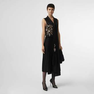 Burberry Bead-embellished Silk Satin Asymmetric Dress