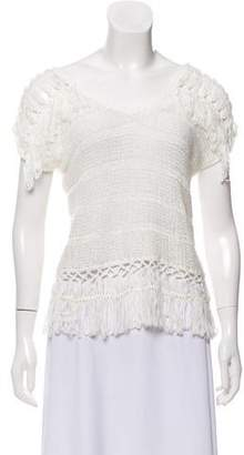 Jonathan Simkhai Open Knit Short Sleeve Top
