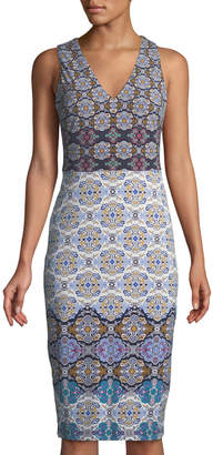 Maggy London Tile-Striped Jersey Midi Dress