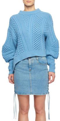 Stella McCartney Puff-Sleeve Alpaca-Blend Cable-Knit Sweater