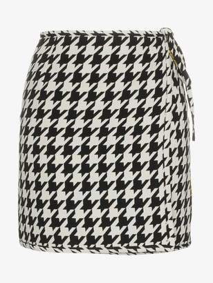 Off-White high waisted virgin wool blend houndstooth mini skirt