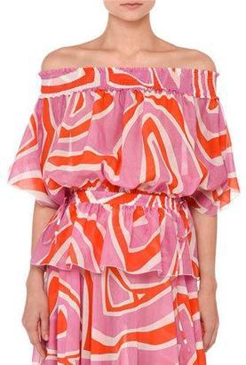 Emilio Pucci Printed Off-the-Shoulder Peplum Top, Pink/Orange $790 thestylecure.com