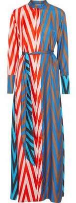 Diane von Furstenberg Paneled Printed Silk Maxi Shirt Dress