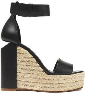 Alexander Wang Leather Espadrille Wedge Sandals