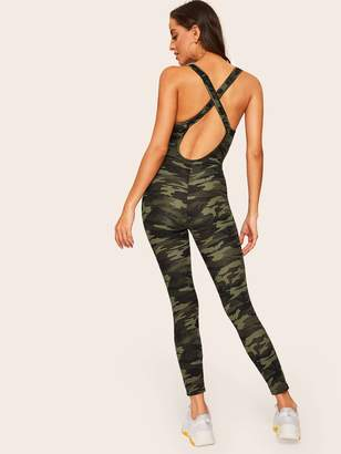 Shein Camo Criss-cross Backless Fitted Jumpsuit