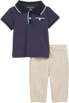 Andy & Evan Solid Polo & Jogger Pants Set