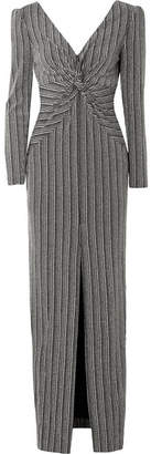Rachel Zoe Nava Twist-front Open-back Ribbed Lurex Maxi Dress - Black