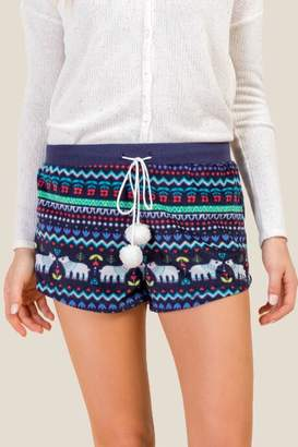 francesca's Bear Fair Isle PJ Short - Navy