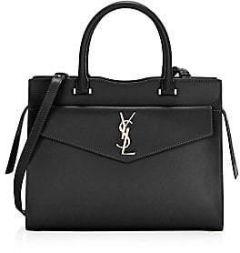 Saint Laurent Women's Small Uptown Cabas Leather Top Handle Bag